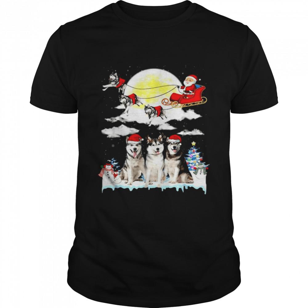 Husky Dog Santa Sleigh Christmas  Classic Men's T-shirt