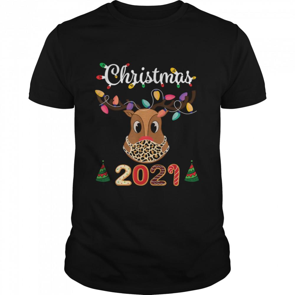 Matching Family Christmas 2021 Leopard Rudolph Reindeer Mask T- Classic Men's T-shirt