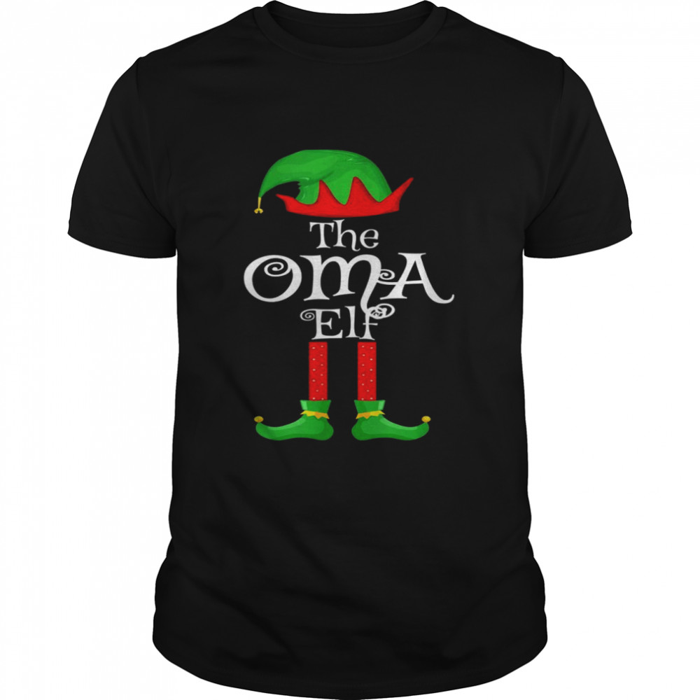 Oma Elf Matching Family Group Christmas Party Pajama  Classic Men's T-shirt