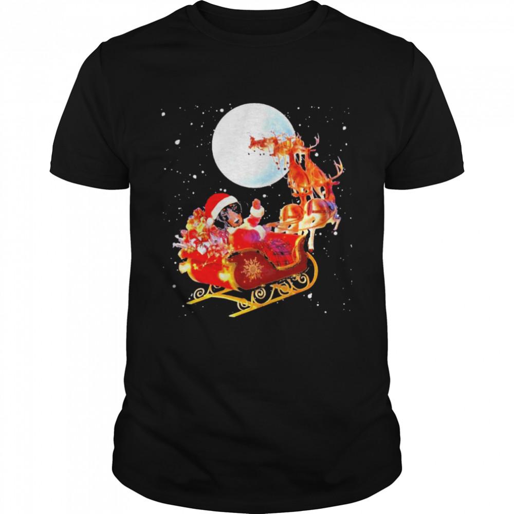 Santa dachshund reindeer merry christmas shirt Classic Men's T-shirt